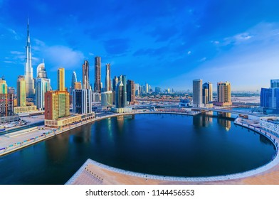 Dubai downtown and water canal, United Arab Emirates