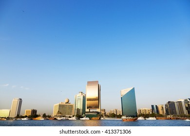 Dubai, EAU - December 15th 2015 - The old neighbourhood skyline of Dubai in EAU.