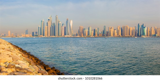 Dubai - The evening panorama of Marina towers from the Palm Island.