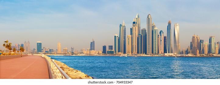 Dubai - The evening panorama of Marina towers and the promenade of Palm Island.