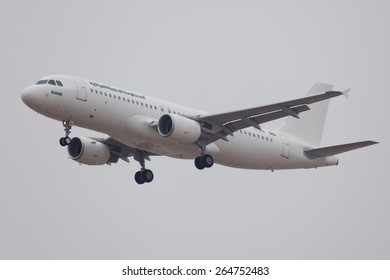 DUBAI - FEBRUARY 2: A passenger plane is seen here landing on Dubai international airport on February 2, 2013.