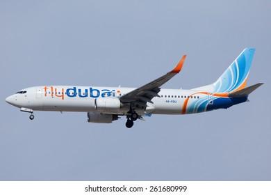 DUBAI - FEBRUARY 8: A flydubai plane is seen here landing on Dubai international airport on February 8, 2013.