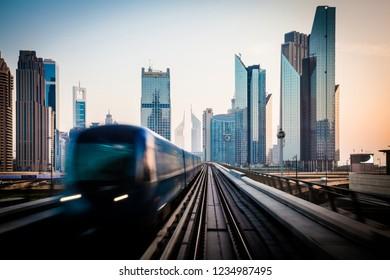 Dubai Financial Center in the mornin, view from train.