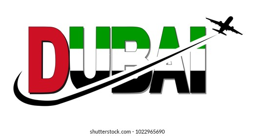 Dubai flag text with plane silhouette and swoosh illustration
