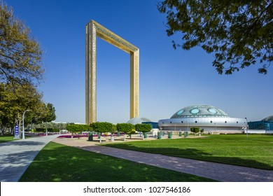Dubai Frame, best new attraction, the biggest golden picture frame, architectural landmark in Zabeel Park. Dubai, UAE - January, 2018.