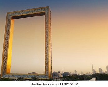 Dubai frame during sunset