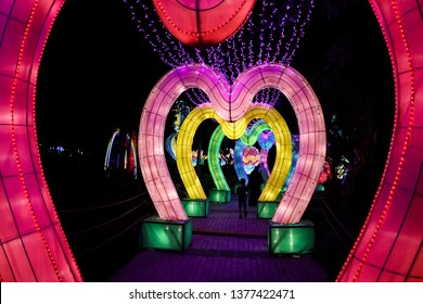 Dubai Garden Glow, a walk through multi-colored hearts