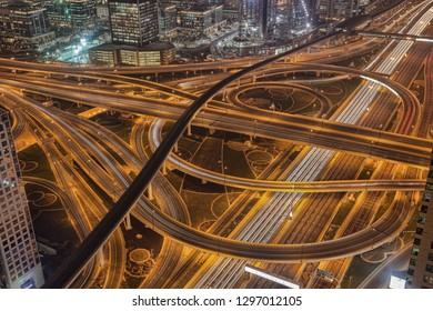 Dubai with highways at night in United Arab Emirates