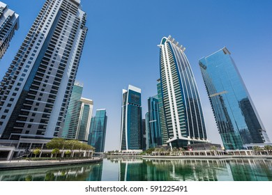 Dubai, July 07, 2014. Jumeirah Lake Towers (JLT) reflected on the Almas Lake.