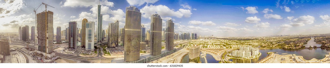 Dubai Jumeirah Lake Towers. Amazing panoramic aerial view of city skyscrapers.