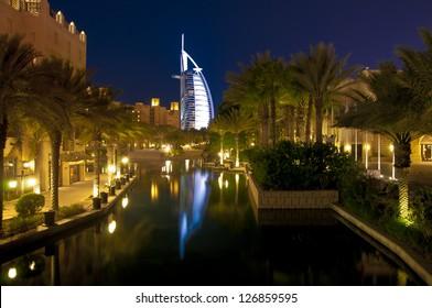 Dubai landmark - seven star luxury hotel Burj Al Arab by night