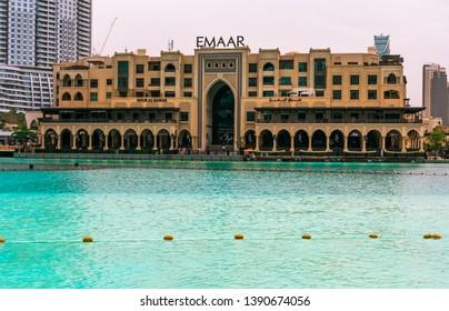 Dubai Mall, Dubai, United Arab Emirates; 10 April 2019; Souk al Bahar and Address Hotel in Emaar Square in Downtown Dubai