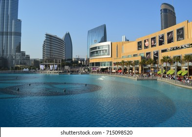 Dubai Mall view from foot over bridge, Dubai Mall, Dubai, UAE, Middle East, 14th January 2017: Fantastic view of Dubai mall with blue water in the front side