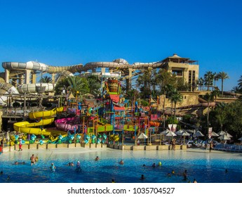 Dubai, March 17 2014: Wild Wadi Waterpark. It is an outdoor adventures water park with many slides in Dubai, United Arab Emirates