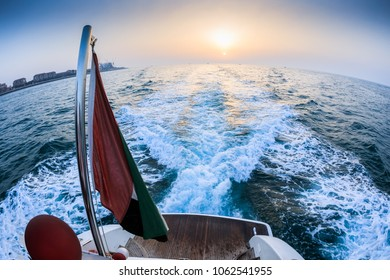 DUBAI - MARCH 17: A boat is sailing in the waters of sea as seen on March 17, 2018.