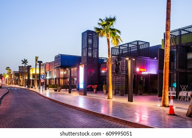 DUBAI - MARCH 18, 2017: Dubai box park. New modern part of Dubai City,created as European-style street,made of metal containers.