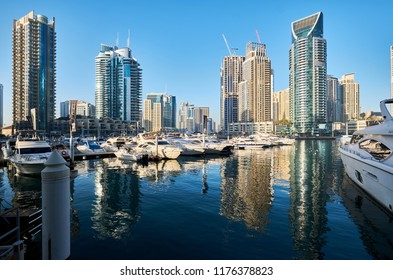 DUBAI - MARCH 22, 2018: Dubai marina daytime skyline in United Arab Emirates
