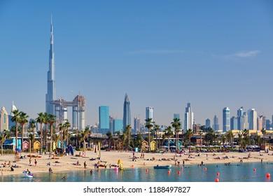 DUBAI - MARCH 26, 2018: Dubai daytime skyline and La Mer beach in United Arab Emirates