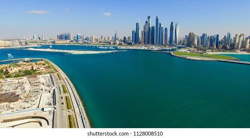 Dubai Marina aerial view from Jumeirah Palm.