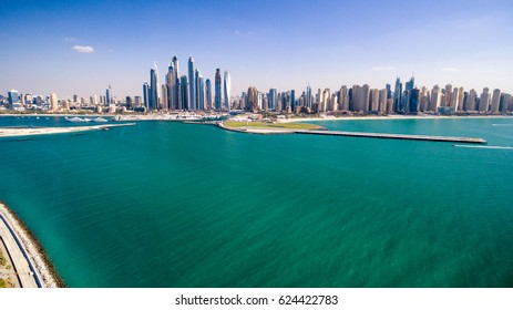Dubai Marina aerial view from Palm Jemeirah.