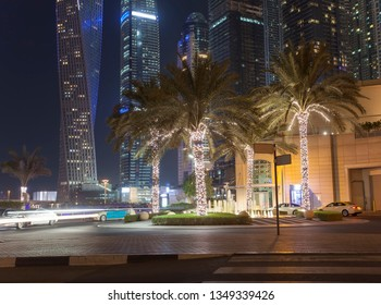Dubai Marina city skyline at night. United Arab Emirates