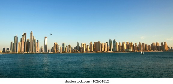 Dubai Marina cityscape, UAE. Panoramic view