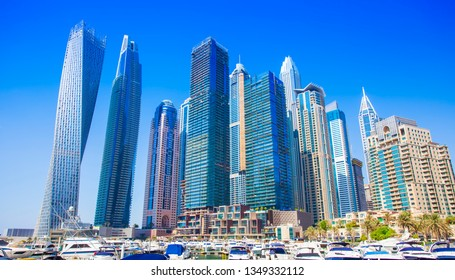 Dubai Marina cityscape in United Arab Emirates