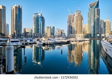Dubai marina daytime skyline in United Arab Emirates