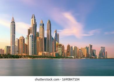 Dubai Marina and famous Jumeirah beach at sunrise, United Arab Emirates