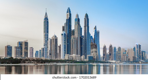 Dubai Marina and famous Jumeirah beach at sunrise, United Arab Emirates