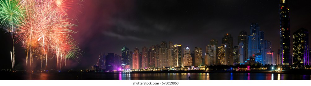 Dubai Marina and fire works