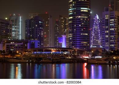 Dubai Marina illuminated at night, United Arab Emirates