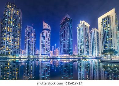 Dubai Marina jumeirah cityscape night background