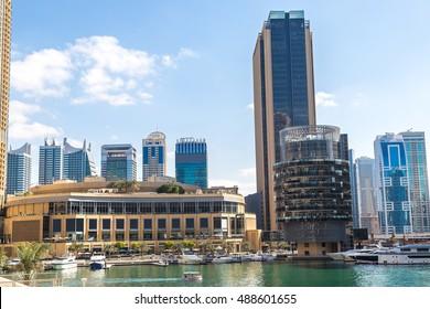 Dubai Marina Mall in a summer day, United Arab Emirates