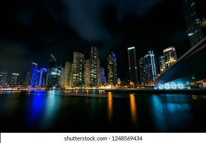 Dubai Marina - a modern community in Dubai. United Arab Emirates. A middle eastern city landscape.