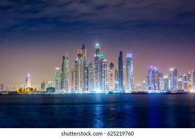 Dubai Marina At Night -  View from Atlantis The Palm Tomasz Ganclerz 17 March 2017