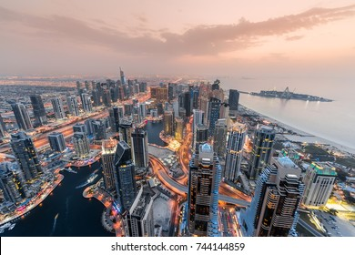 Dubai Marina resort area during sunset, in Dubai, United Arab Emirates