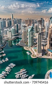 Dubai Marina skyline aerial view. Modern city architecture