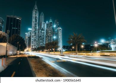 Dubai Marina Skyline at night from Dubai Media City - January 2021