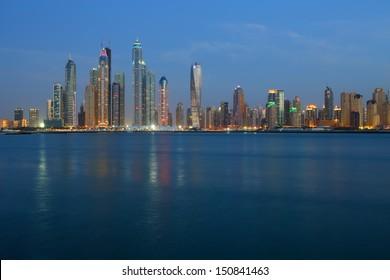 Dubai marina skyline at night,  United Arab Emirates