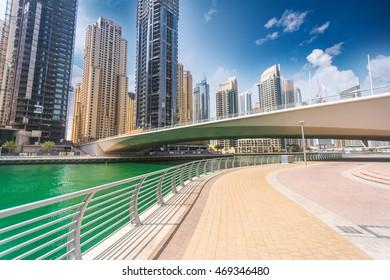 Dubai Marina skyline at United Arab Emirates