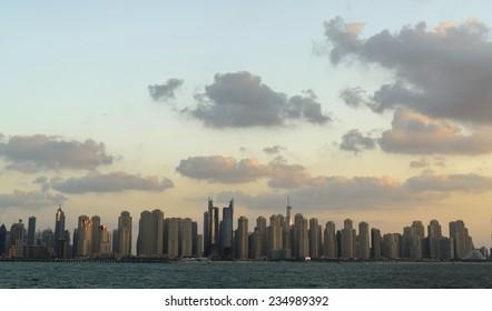 Dubai Marina skyline. View from sea.