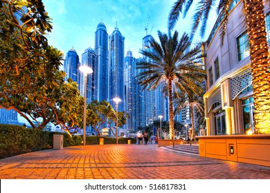 Dubai Marina with  skyscrapers  in the evening, United Arab Emirates.