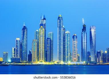 Dubai Marina skyscrapers and Jumeirah beach in luxury Dubai city,United Arab Emirates