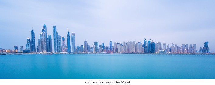 Dubai Marina skyscrapers and Jumeirah beach,Dubai,United Arab Emirates