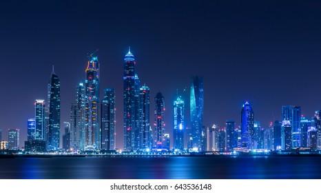 Dubai Marina Skyscrapers at night
