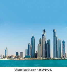 Dubai Marina. Skyscrapers on a beautiful day.