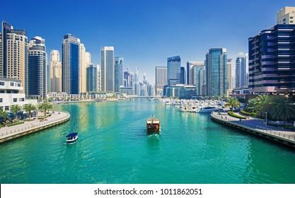 Dubai Marina skyscrapers, port with luxury yachts and Marina promenade, Dubai, United Arab Emirates