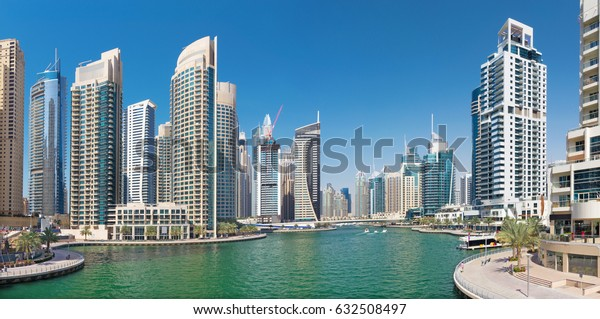 Dubai -  The Marina, skyscrapers and promenade.