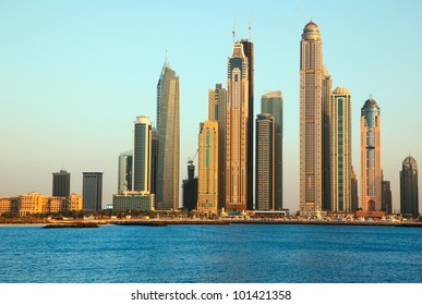 Dubai Marina skyscrapers. View from sea